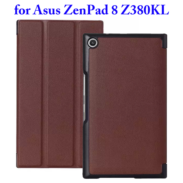 Karst Texture 3 Folding Flip Stand Leather Tablet Case for Asus ZenPad 8 Z380KL (Coffee)
