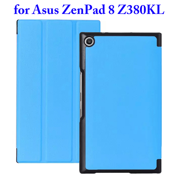 Karst Texture 3 Folding Flip Stand Leather Tablet Case for Asus ZenPad 8 Z380KL (Blue)