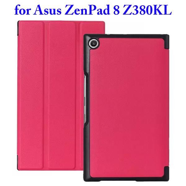Karst Texture 3 Folding Flip Stand Leather Tablet Case for Asus ZenPad 8 Z380KL (Rose)