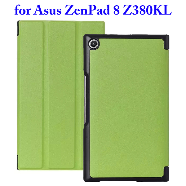 Karst Texture 3 Folding Flip Stand Leather Tablet Case for Asus ZenPad 8 Z380KL (Green)