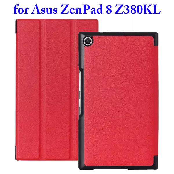 Karst Texture 3 Folding Flip Stand Leather Tablet Case for Asus ZenPad 8 Z380KL (Red)