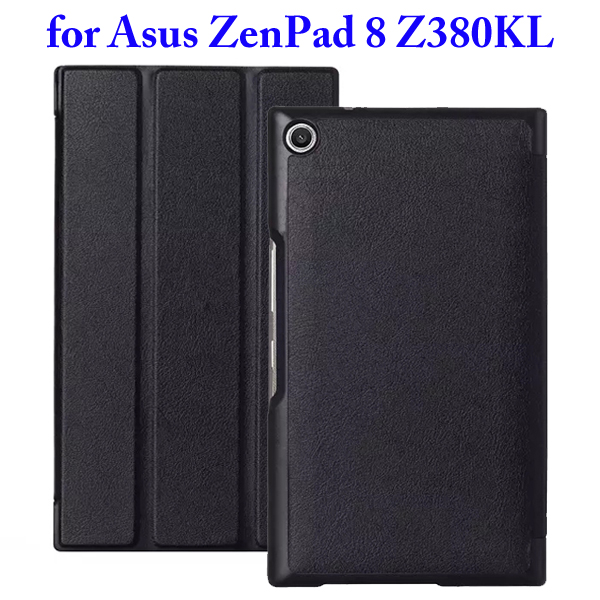 Karst Texture 3 Folding Flip Stand Leather Tablet Case for Asus ZenPad 8 Z380KL (Black)