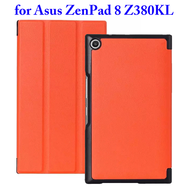 Karst Texture 3 Folding Flip Stand Leather Tablet Case for Asus ZenPad 8 Z380KL (Orange)