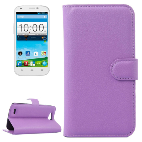 Solid color Horizontal Flip Leather Case for ZTE Blade Q Maxi with Card Slots and Holder (Purple)