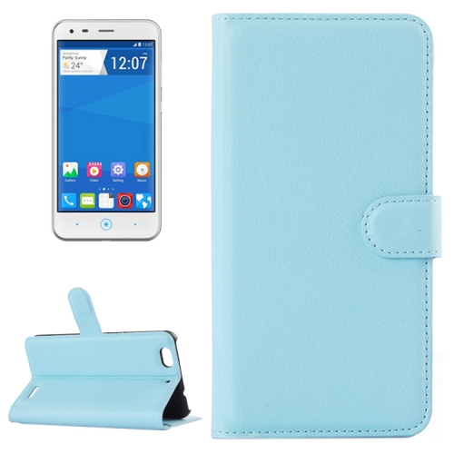 Solid color Design Flip Leather Case for ZTE Blade S6 Lux with Card Slots & Stand (Blue)