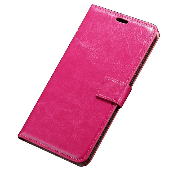 Oil Coated Pattern Crazy Horse Texture Flip Leather Case for Asus ZenFone 2 with Photo Slot (Rose)