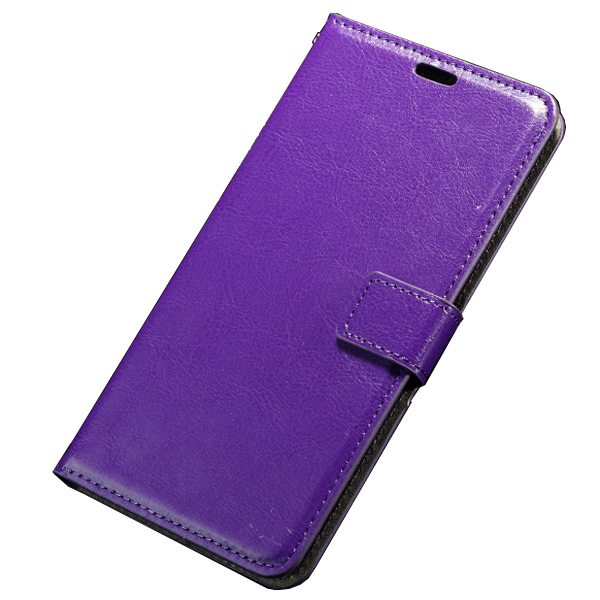 Oil Coated Pattern Crazy Horse Texture Flip Leather Case for Asus ZenFone 2 with Photo Slot (Purple)