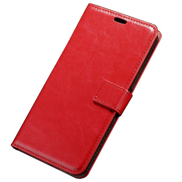 Oil Coated Pattern Crazy Horse Texture Flip Leather Case for Asus ZenFone 2 with Photo Slot (Red)