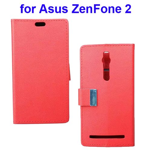 Karst Texture Wallet Style Flip Leather Case for Asus ZenFone 2 (Red)