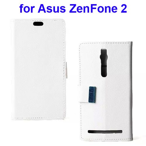 Karst Texture Wallet Style Flip Leather Case for Asus ZenFone 2 (White)