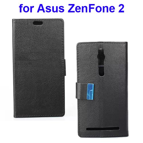 Karst Texture Wallet Style Flip Leather Case for Asus ZenFone 2 (Black)