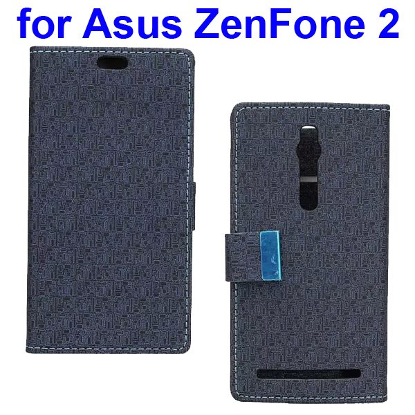 Maze Pattern PU Wallet Leather Flip Cover for Asus ZenFone 2 (Black)