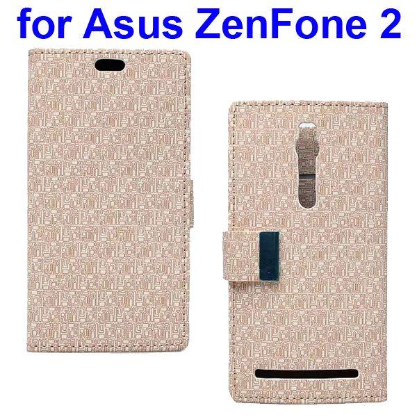 Maze Pattern PU Wallet Leather Flip Cover for Asus ZenFone 2 (Beige)