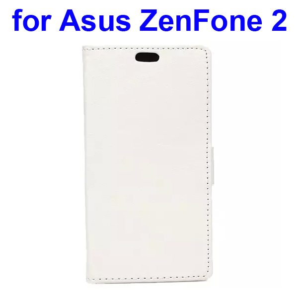 Crystal Texture PU Leather Flip Wallet Case for Asus ZenFone 2 with Card Slots (White)