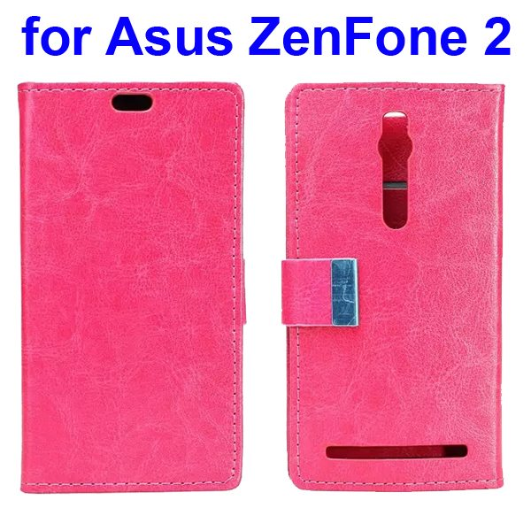 Crystal Texture PU Leather Flip Wallet Case for Asus ZenFone 2 with Card Slots (Rose)