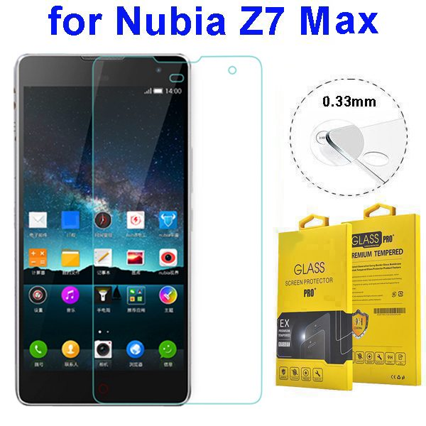 High Sensitive 0.33mm 2.5D Tempered Glass Screen Guard for Nubia Z7 Max