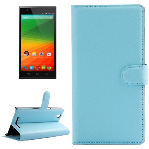 Horizontal Flip Solid color Leather Case for Lenovo Vibe Z2 with Card Slots & Holder (Baby Blue)