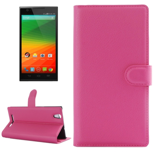 Horizontal Flip Solid color Leather Case for Lenovo Vibe Z2 with Card Slots & Holder (Rose)