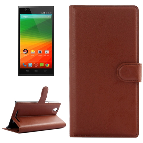 Horizontal Flip Solid color Leather Case for Lenovo Vibe Z2 with Card Slots & Holder (Brown)