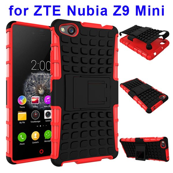 2 In 1 Pattern Shockproof Silicone and PC Hybrid Case for Nubia Z9 Mini with Kickstand (Red)