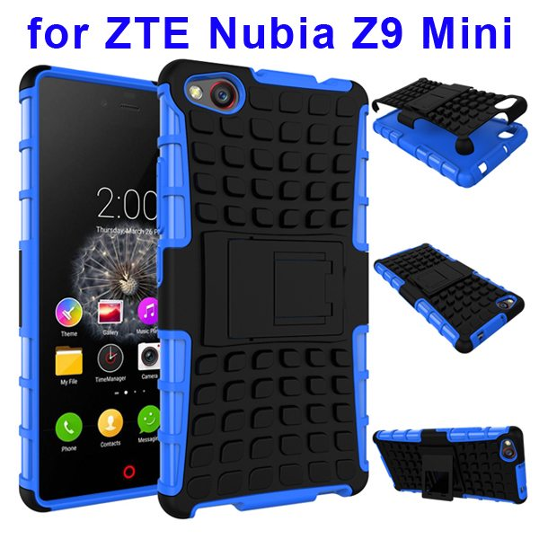 2 In 1 Pattern Shockproof TPU and PC Hybrid Case for Nubia Z9 Mini with Kickstand (Blue)