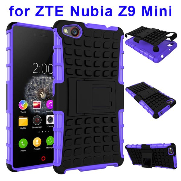 2 In 1 Pattern Shockproof TPU and PC Hybrid Case for Nubia Z9 Mini with Kickstand (Purple)