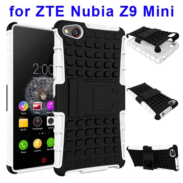 2 In 1 Pattern Shockproof TPU and PC Hybrid Case for Nubia Z9 Mini with Kickstand (White)