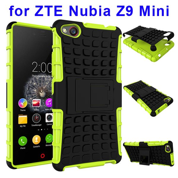 2 In 1 Pattern Shockproof TPU and PC Hybrid Case for Nubia Z9 Mini with Kickstand (Green)