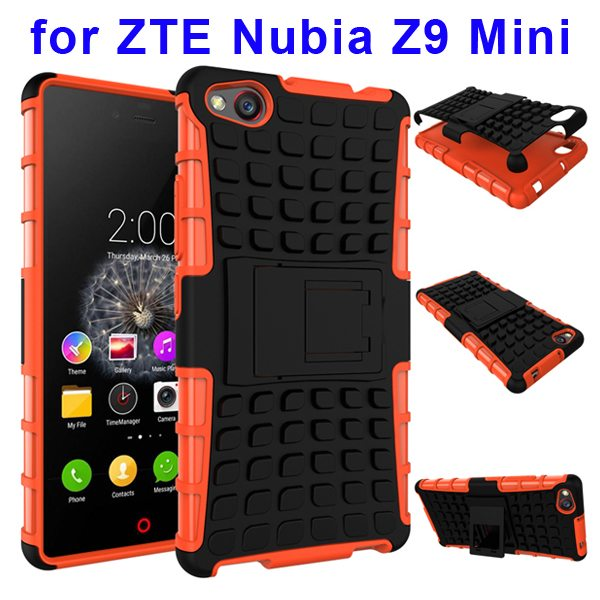 2 In 1 Pattern Shockproof TPU and PC Hybrid Case for Nubia Z9 Mini with Kickstand (Orange)