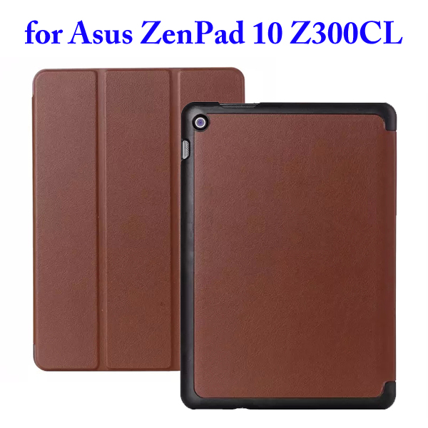 Karst Texture 3 Folding Flip Stand PU Leather Case for Asus ZenPad 10 Z300CL (Brown)