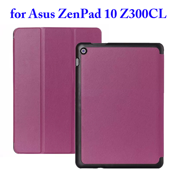 Karst Texture 3 Folding Flip Stand PU Leather Case for Asus ZenPad 10 Z300CL (Purple)