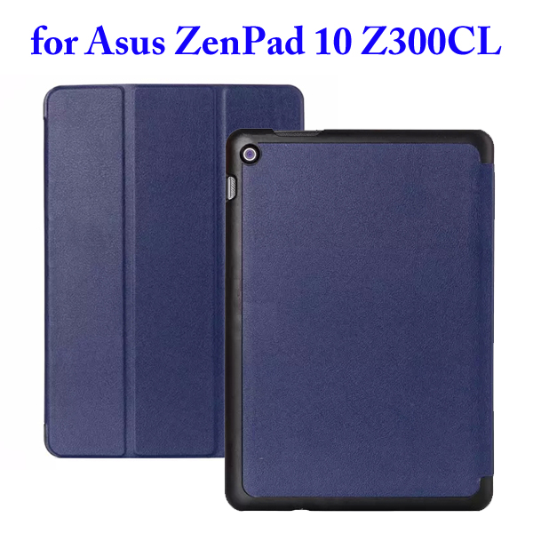 Karst Texture 3 Folding Flip Stand PU Leather Case for Asus ZenPad 10 Z300CL (Dark Blue)
