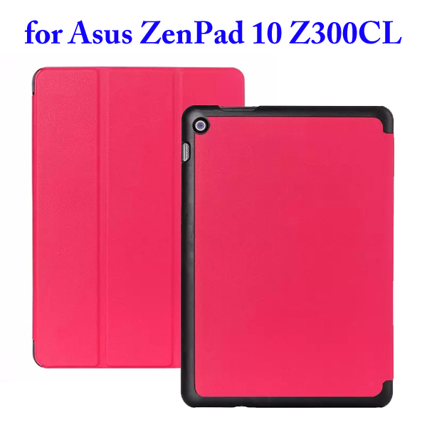 Karst Texture 3 Folding Flip Stand PU Leather Case for Asus ZenPad 10 Z300CL (Rose)