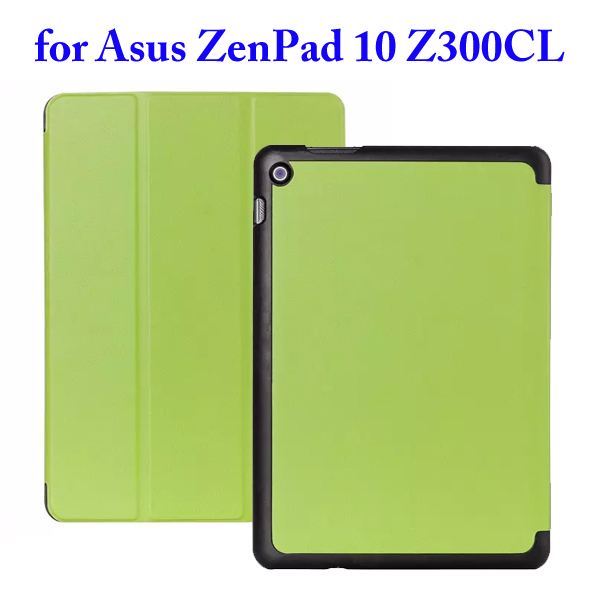 Karst Texture 3 Folding Flip Stand PU Leather Case for Asus ZenPad 10 Z300CL (Green)