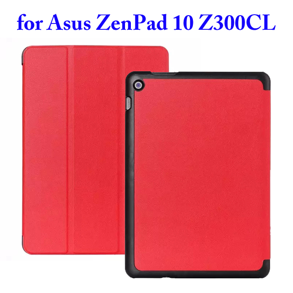 Karst Texture 3 Folding Flip Stand PU Leather Case for Asus ZenPad 10 Z300CL (Red)