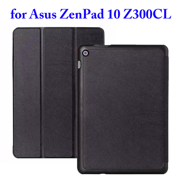 Karst Texture 3 Folding Flip Stand PU Leather Case for Asus ZenPad 10 Z300CL (Black)