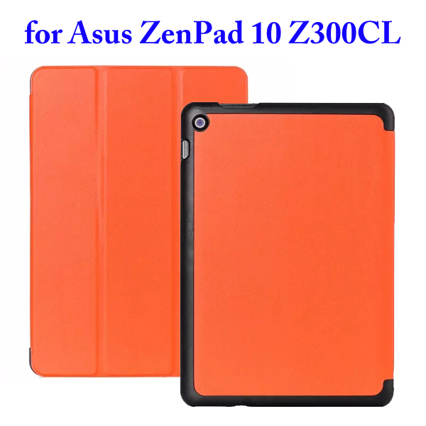 Karst Texture 3 Folding Flip Stand PU Leather Case for Asus ZenPad 10 Z300CL (Orange)