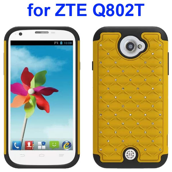 Bling Shiny Diamond Studded Silicone and Hard Shockproof hybrid Cover for ZTE Q802T (Yellow)