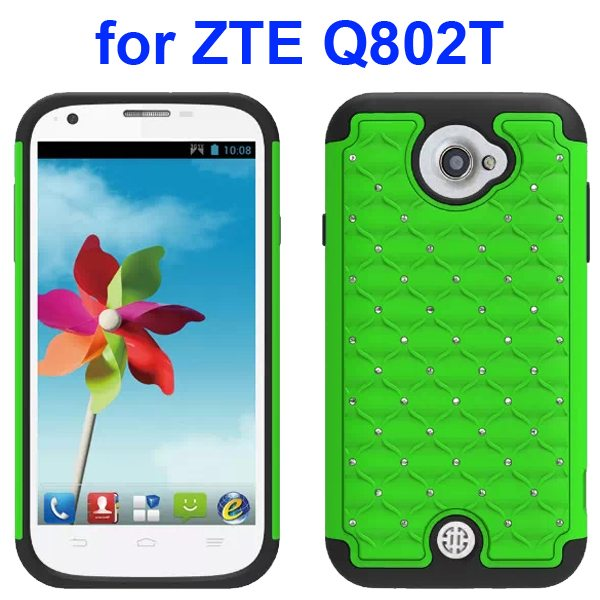 Bling Shiny Diamond Studded Silicone and Hard Shockproof hybrid Cover for ZTE Q802T (Green)