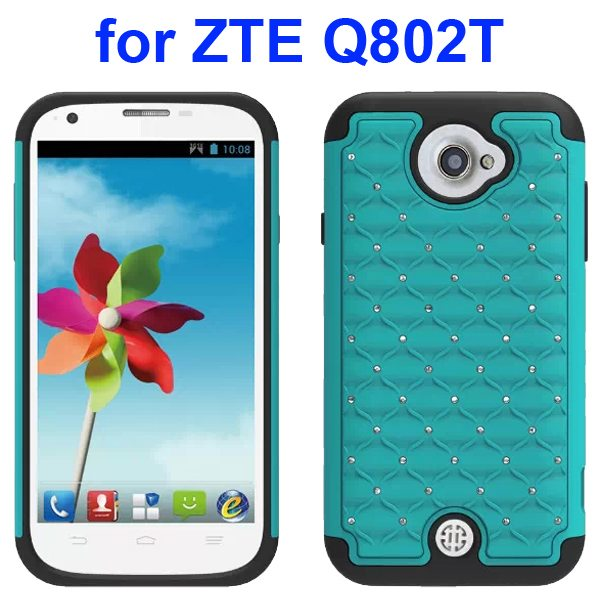 Bling Shiny Diamond Studded Silicone and Hard Shockproof hybrid Cover for ZTE Q802T (Light Blue)