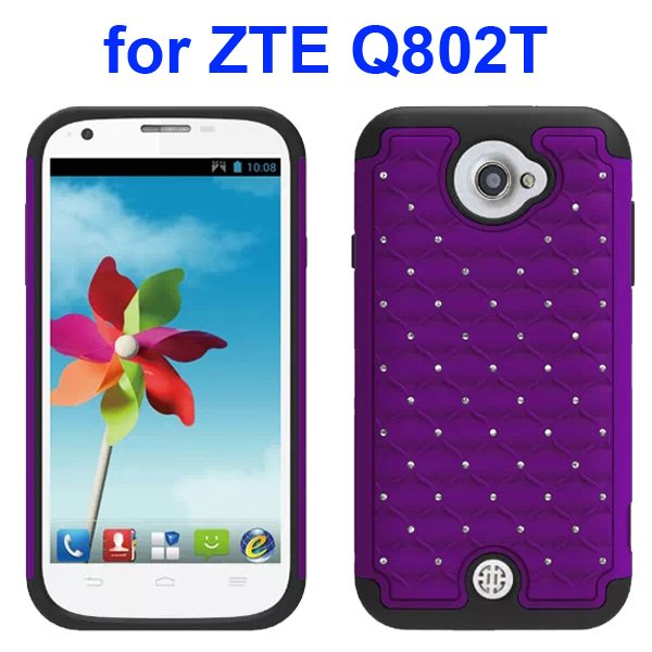 Bling Shiny Diamond Studded Silicone and Hard Shockproof hybrid Cover for ZTE Q802T (Purple)