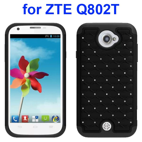 Bling Shiny Diamond Studded Silicone and Hard Shockproof hybrid Cover for ZTE Q802T (Black)
