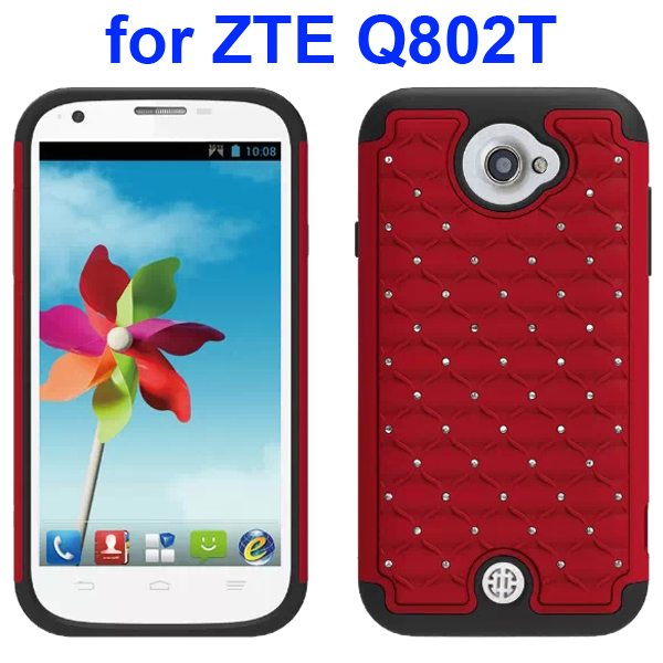 Bling Shiny Diamond Studded Silicone and Hard Shockproof hybrid Cover for ZTE Q802T (Red)