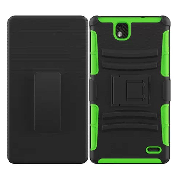 3 in 1 Snap-On Silicone and PC Case for ZTE Grand XMax with Kickstand (Green)