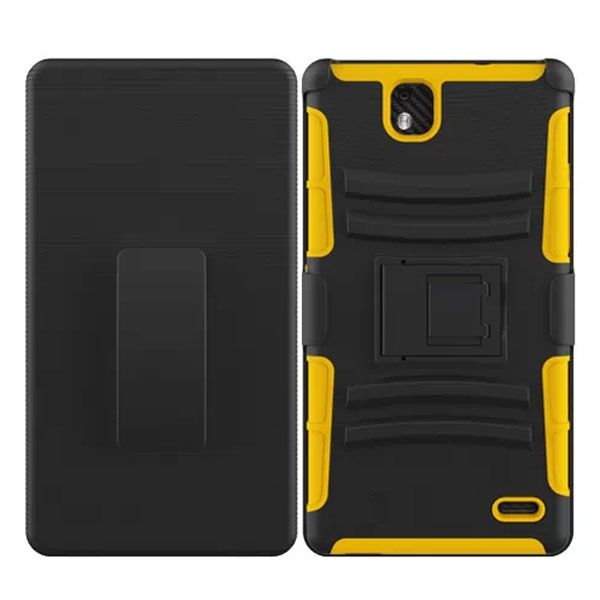 3 in 1 Snap-On Silicone and PC Case for ZTE Grand XMax with Kickstand (Yellow)