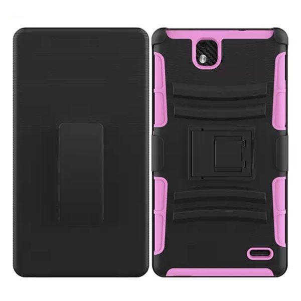 3 in 1 Snap-On Silicone and PC Case for ZTE Grand XMax with Kickstand (Pink)