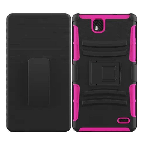 3 in 1 Snap-On Silicone and PC Case for ZTE Grand XMax with Kickstand (Rose)
