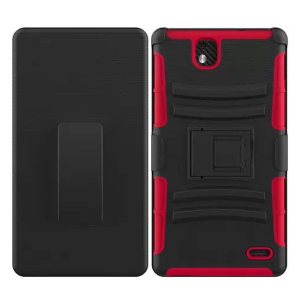 3 in 1 Snap-On Silicone and PC Case for ZTE Grand XMax with Kickstand (Red)