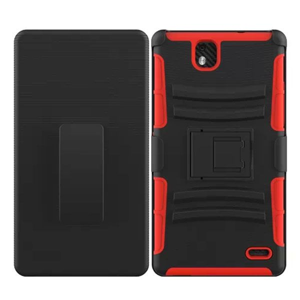 3 in 1 Snap-On Silicone and PC Case for ZTE Grand XMax with Kickstand (Orange)