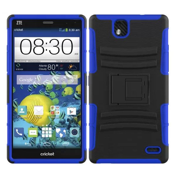 3 in 1 Snap-On Silicone and PC Case for ZTE Grand XMax with Kickstand (Dark Blue)